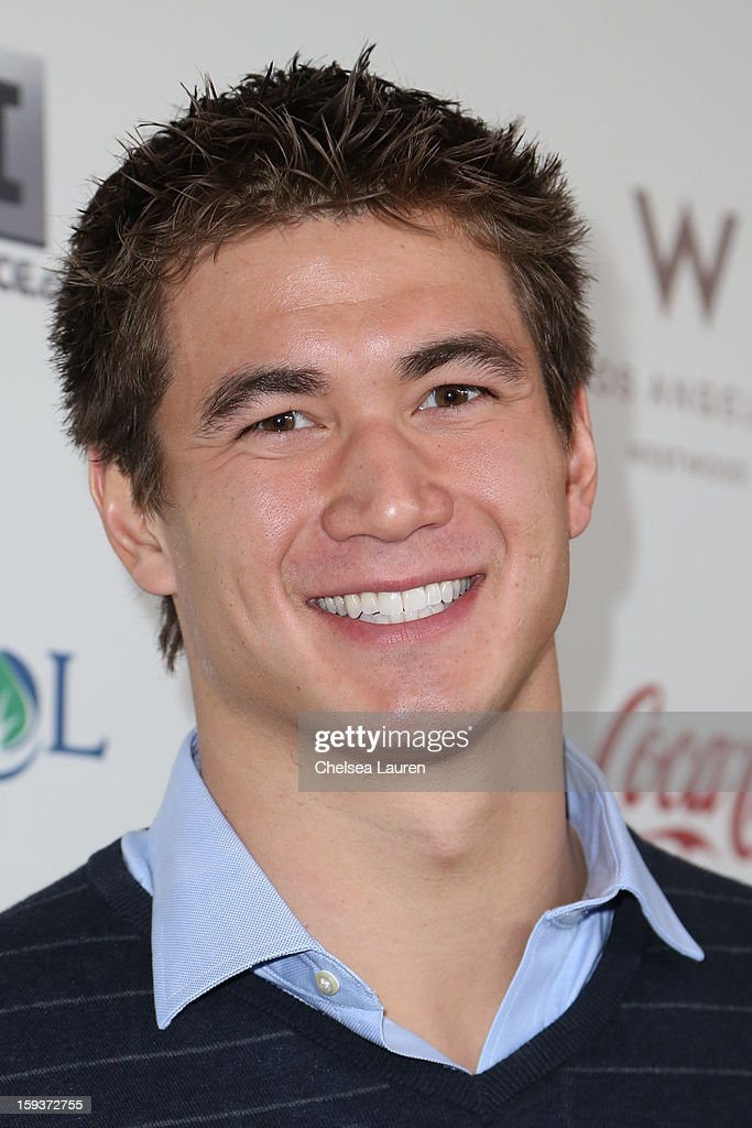 Olympic swimmer Nathan Adrian arrives at the CW3PR Presents 'Gold Meets Golden' at Equinox Sports Club on January 12, 2013 in Los Angeles, California.