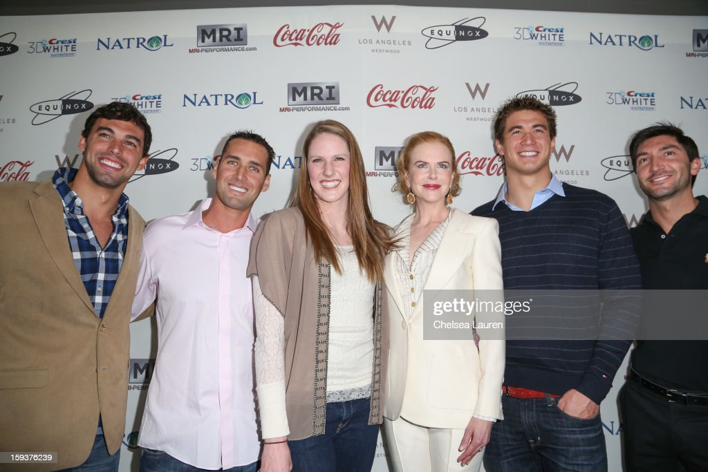 Olympic swimmer Ricky Berens, Olympic water polo player Merrill Moses, Olympic swimmer Missy Franklin, actress Nicole Kidman, Olympic swimmer Nathan Adrian and Olympic figure skater Evan Lysacek arrive at CW3PR Presents 'Gold Meets Golden' at Equinox Sports Club on January 12, 2013 in Los Angeles, California.