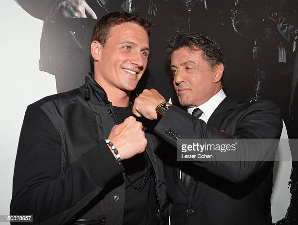 Olympic swimmer Ryan Lochte and actor/writer Sylvester Stallone arrive at 'The Expendables 2' Los Angeles Premiere at Grauman's Chinese Theatre on...