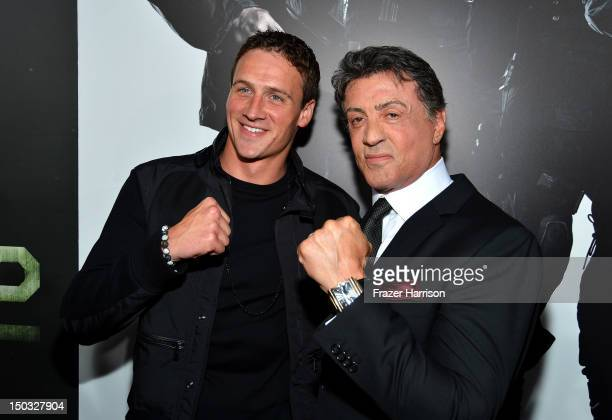 Olympic Swimmer Ryan Lochte and Actor/Writer/Director Sylvester Stallone arrives at Lionsgate Films' 'The Expendables 2' premiere on August 15 2012...