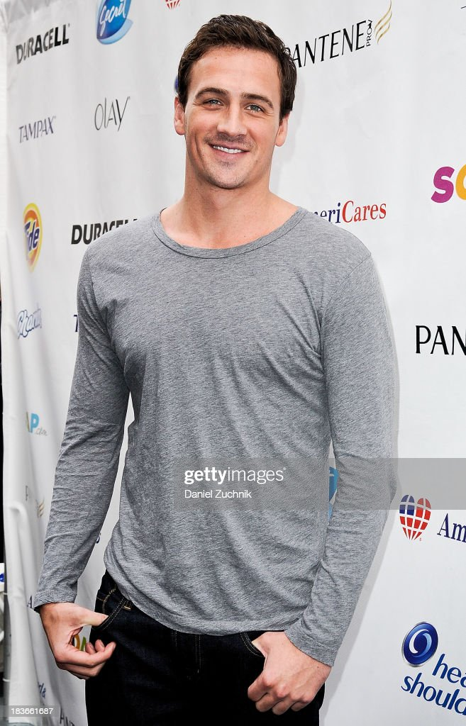 Olympic swimmer Ryan Lochte attends the 'Swim for Relief' benefiting Hurricane Sandy Recovery at Herald Square on October 8, 2013 in New York City.