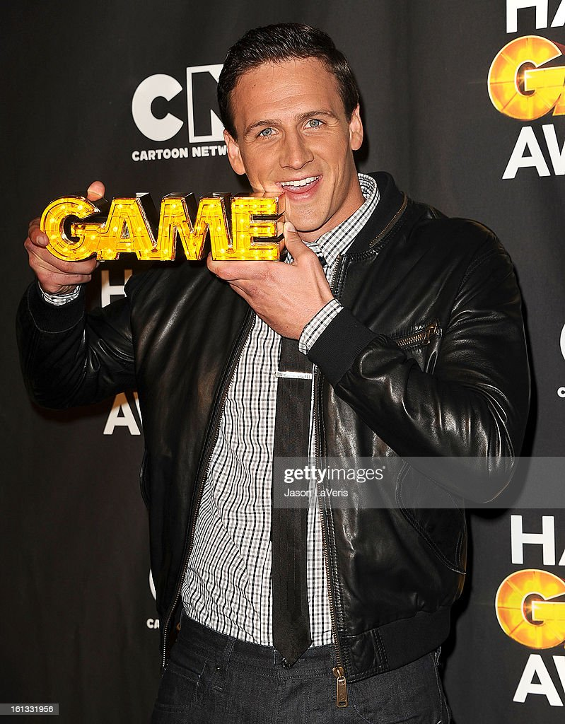 Olympic swimmer Ryan Lochte poses in the press room at Cartoon Network's 3rd annual Hall Of Game Awards at Barker Hangar on February 9, 2013 in Santa Monica, California.