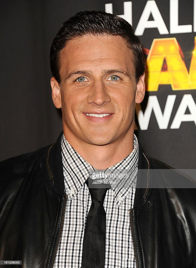 Olympic swimmer <a gi-track='captionPersonalityLinkClicked' href=/galleries/search?phrase=Ryan+Lochte&family=editorial&specificpeople=182557 ng-click='$event.stopPropagation()'>Ryan Lochte</a> poses in the press room at Cartoon Network's 3rd annual Hall Of Game Awards at Barker Hangar on February 9, 2013 in Santa Monica, California.
