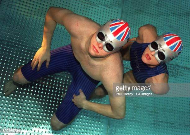 Olympic swimmers Graeme Smith and Karen Pickering launch Speedo's revolutionary 'go faster' Speedmask in London today Photo by Paul Treacy/PA