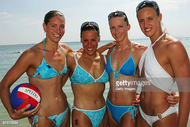 Olympic swimmers Katy Sexton Sarah Price Alison Sheppard and Karen Pickering of Great Britain pose during the Speedo Athlete Beach Day at Speedo...