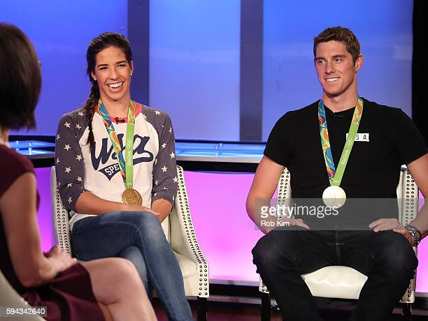 S Olympic Swimmers Madeline Dirado and Conor Dwyer visit FOX Business Network at FOX Studios on August 22 2016 in New York City