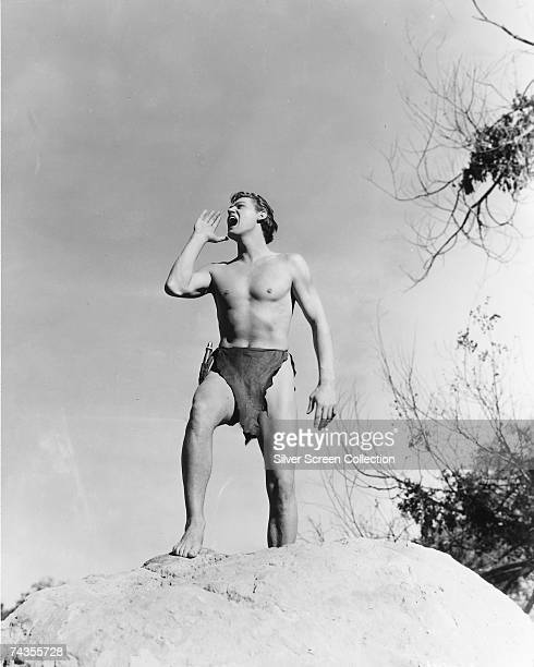 Olympic swimming champion and Hollywood actor Johnny Weissmuller as Tarzan in 'Tarzan and His Mate' directed by Cedric Gibbons 1934