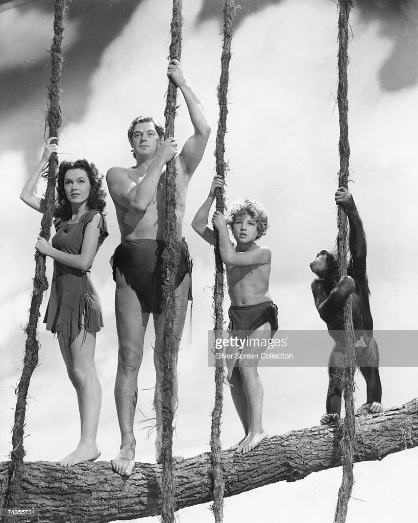 Olympic swimming champion and Hollywood actor Johnny Weissmuller (1904 - 1984) as Tarzan, with Maureen O'Sullivan (1911 - 1998) as Jane and Johnny Sheffield as Boy in 'Tarzan's Secret Treasure', directed by Richard Thorpe, 1941.