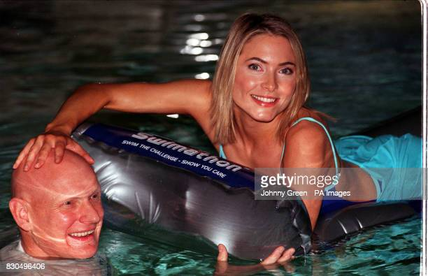 Olympic swimming gold medalist Duncan Goodhew and TV presenter Lisa Rogers at the Grange Holborn Hotel's pool in central London to launch the BT...