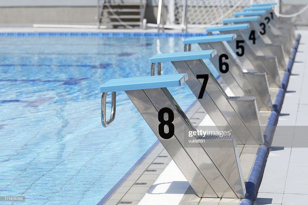 Olympic Swimming Pool Start Line Stock Photo Getty Images