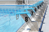 Olympic swimming pool start line