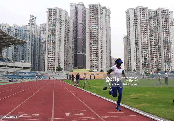 GB Olympic Team 400m Runner Christine Ohuruogu training today in Macau to complete their preparations for the Beijing Olympics