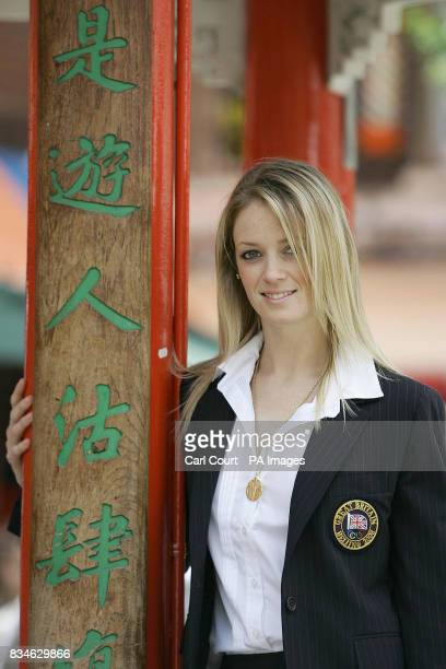 Olympic Team GB member Katy Livingstone to compete in the Modern Pentathlon is photographed in London's China Town wearing the new Team GB formal...