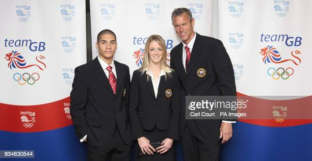 Olympic Team GB members Louis Smith Gymnastics Katy Livingstone Modern Pentathlon and Mark Foster Swimming pose in the new Team GB formal wear to be...