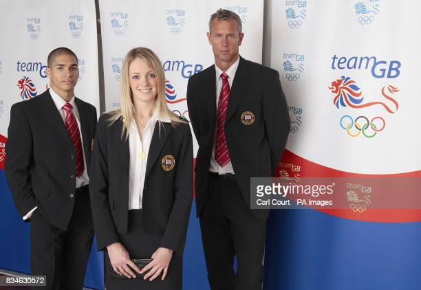 Louis Smith Gymnastics Katy Livingstone Modern Pentathlon and Mark Foster Swimming pose in the new Team GB formal wear to be worn at the 2008 Beijing...