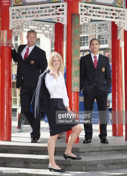Mark Foster Swimming Katy Livingstone Modern Pentathlon and Louis Smith Gymnastics photographed in London's China Town wearing the new Team GB formal...