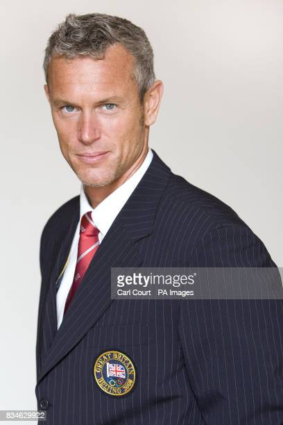 Olympic Team GB Swimmer Mark Foster is photographed at the Century Club London wearing the new Team GB formal wear to be worn at the 2008 Beijing...