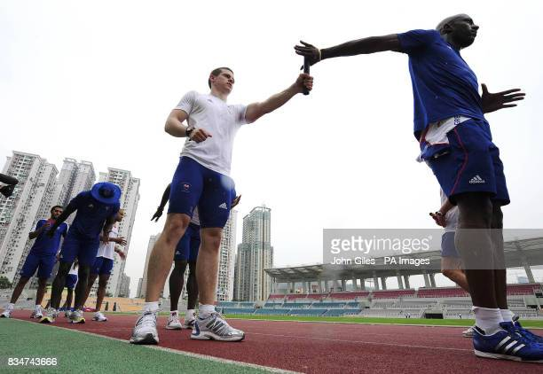 GB Olympic Team sprinters Craig Pickering and Marlon Devonish take part in Sprint relay squad training today in Macau to complete their preparations...