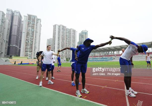 GB Olympic Team sprinters Craig Pickering and Tyrone Edgar and Simeon Williamson take part in Sprint relay squad training today in Macau to complete...