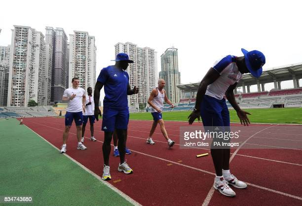 GB Olympic Team sprinters Craig Pickering and Tyrone Edgar take part in Sprint relay squad training today in Macau to complete their preparations for...