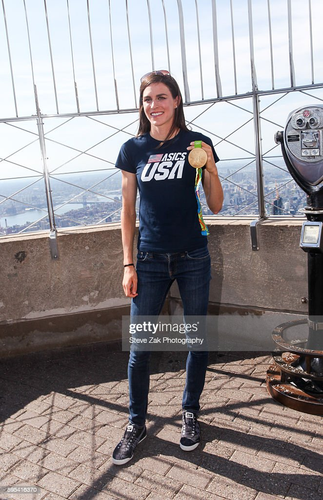 Olympic triathlon gold medalist Gwen Jorgensen visits The Empire State Building at The Empire State Building on August 25, 2016 in New York City.