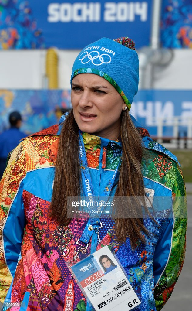 Olympic Village Mayor <a gi-track='captionPersonalityLinkClicked' href=/galleries/search?phrase=Elena+Isinbaeva&family=editorial&specificpeople=3230101 ng-click='$event.stopPropagation()'>Elena Isinbaeva</a> tours the Coastal Cluster Olympic Village ahead of the Sochi 2014 Winter Olympics at the Athletes Village on February 5, 2014 in Sochi, Russia.