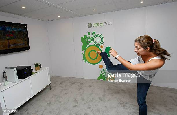 Olympic Volleyball Gold Medalist Misty MayTreanor plays Project Natal at the XBox Booth at E3 Expo at Los Angeles Convention Center on June 2 2009 in...