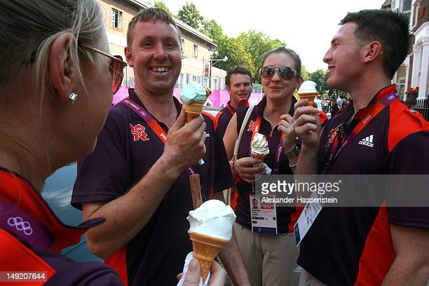 Olympic volunters enjoy ice cream at Greenwich Park venue on July 25 2012 in London England