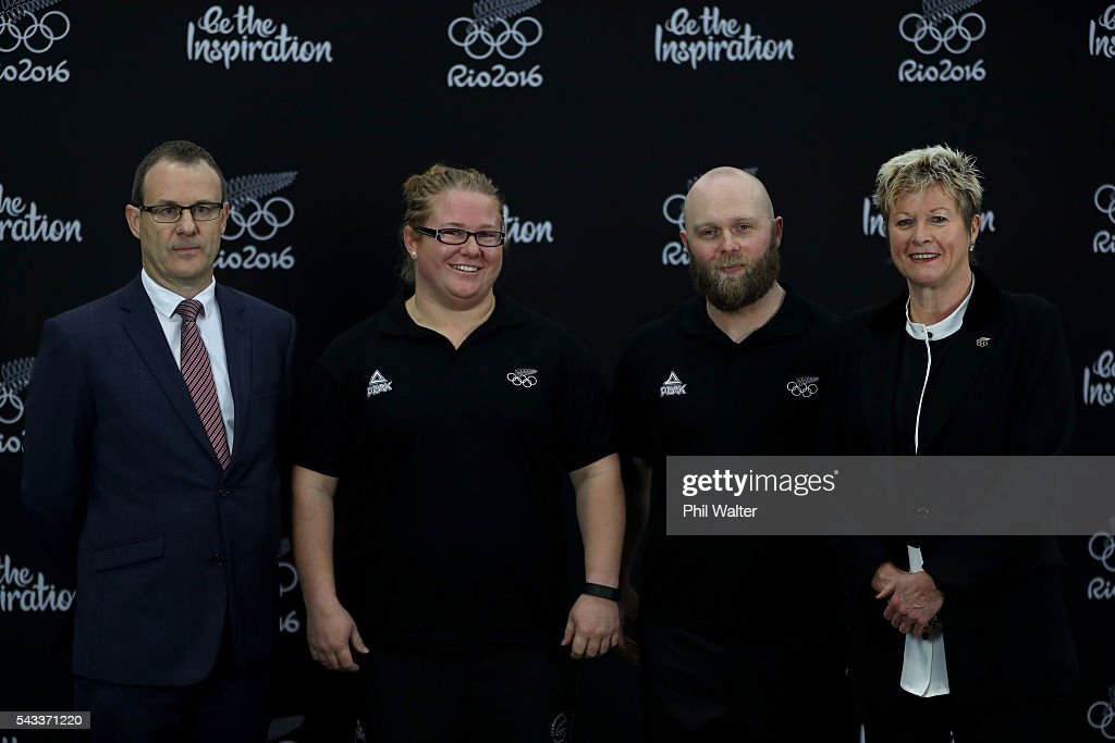 Olympic Weightlifting NZ High Performance Manager John Moss, Tracey Lambrechs, Richie Patterson and New Zealand Olympic Committee CEO Kereyn Smith pose following the New Zealand Olympic Weightlifting Team Selection announcement at Functional Strength HQ on June 28, 2016 in Auckland, New Zealand.