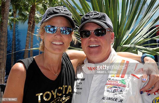 Olympic wimmer Dara Torres and race driver Al Unser Jr at the 42nd Toyota Pro/Celebrity Race Race Day to Benefit 'Racing For Kids' held on April 15...