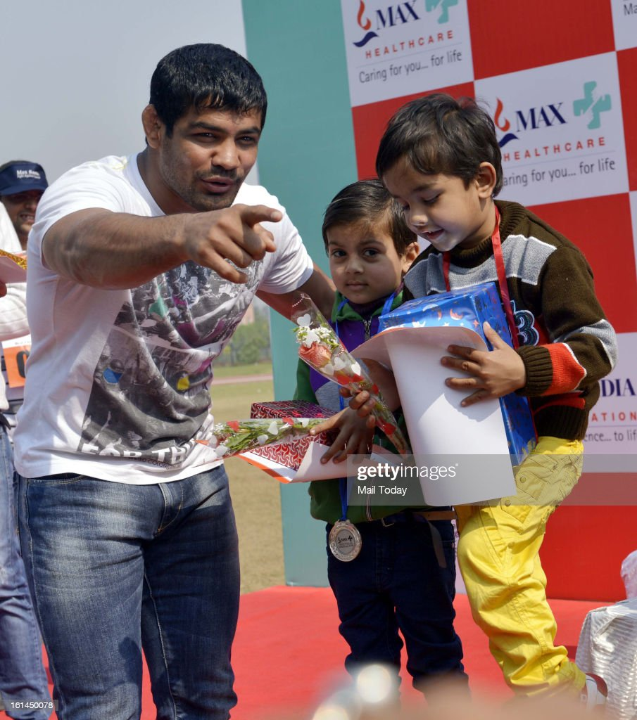 Olympics Champion Sushil Kumar during Max Healthcare Real Champs League to fortitude of Cancer Survivors at Commonwealth Sports Complex in New Delhi.