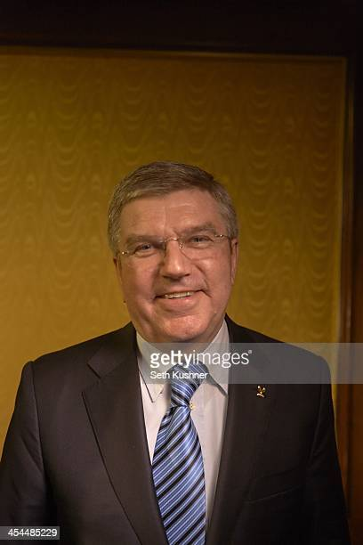 Closeup portrait of International Olympic Committee president Thomas Bach during photo shoot at InterContinental Hotel New York Barclay New York NY...