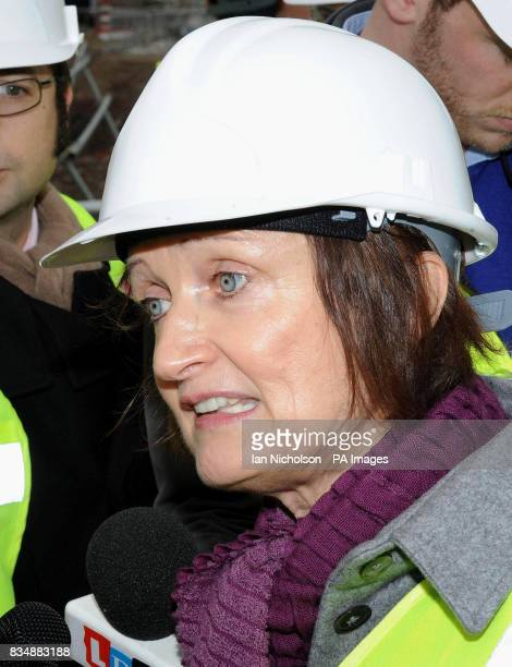 Olympics minister Tessa Jowell at the Olympic park in east London where work has started on the removal of the first of 52 electricity pylons from...