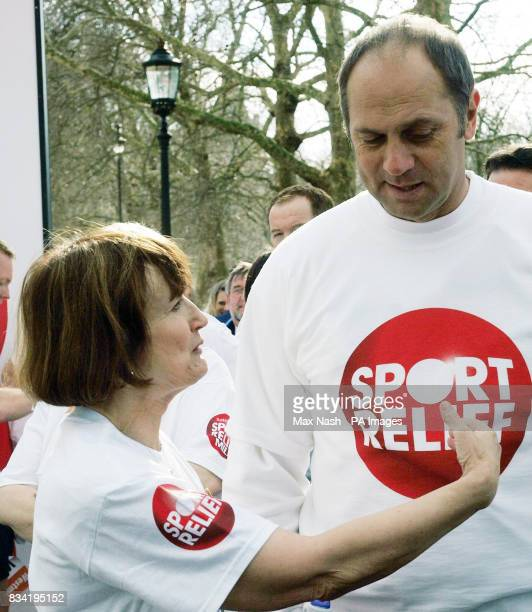 Olympics Minister Tessa Jowell talks with Sir Steve Redgrave before the start of the Westminster Mile in Central London with other MPs and members of...
