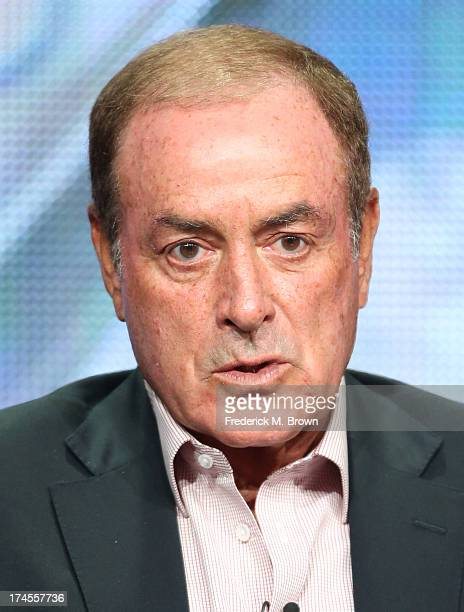 Olympics reporter Al Michaels speaks onstage during the 'NBC Olympics' panel discussion at the NBC portion of the 2013 Summer Television Critics...