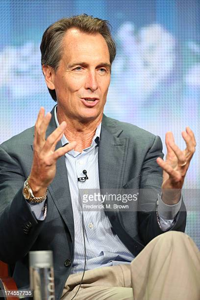 Olympics reporter Cris Collinsworth speaks onstage during the 'NBC Olympics' panel discussion at the NBC portion of the 2013 Summer Television...