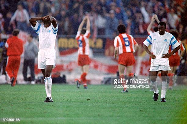 Olympique de Marseille defender Basile Boli reacts to his team's defeat after the European champions cup final football match between OM and Red Star...