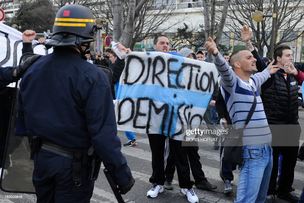 Olympique de Marseille (OM) football club supporters protest against the club management, on March 3, 2013 in Marseille, prior to the French L1 football match Marseille vs Troyes.