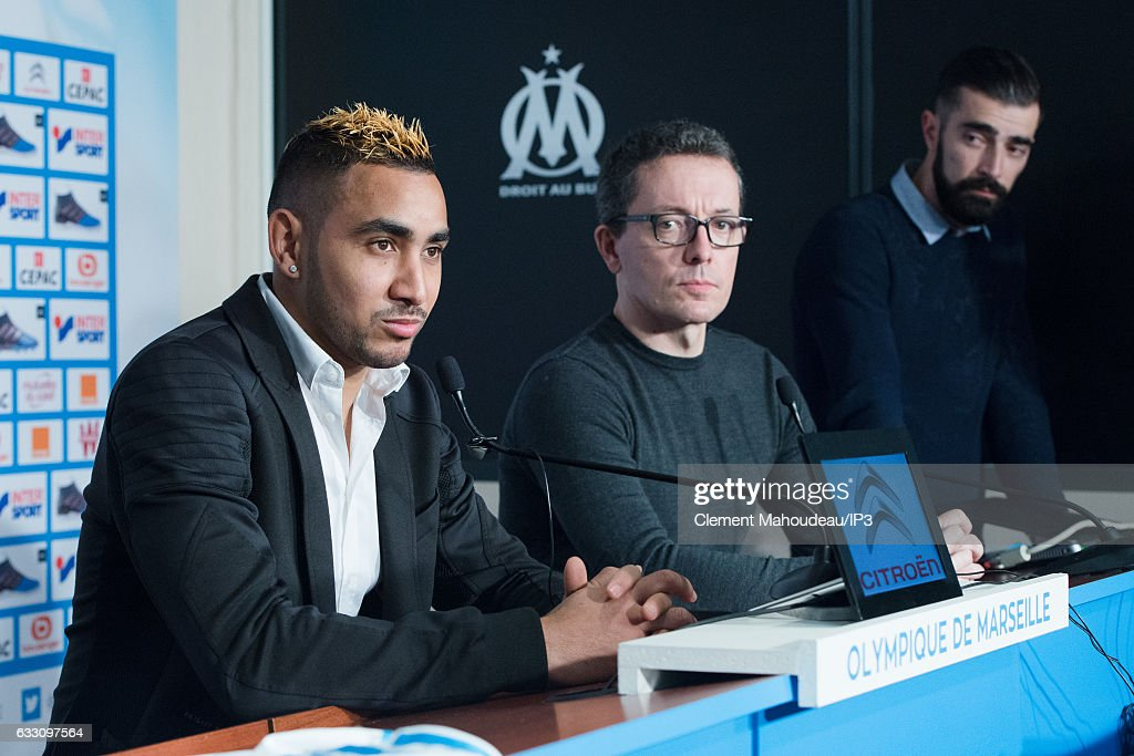 Olympique de Marseille president Jacques Henri Eyraud (C) holds a press conference to present new player Dimitri Payet (L) at the Robert Louis Dreyfus stadium on January 30, 2017 in Marseille, France. The French international has signed a four and a half year contract with the French Ligue 1 club.