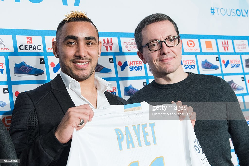 Olympique de Marseille president Jacques Henri Eyraud (R) holds a press conference to present new player Dimitri Payet (L) at the Robert Louis Dreyfus stadium on January 30, 2017 in Marseille, France. The French international has signed a four and a half year contract with the French Ligue 1 club.