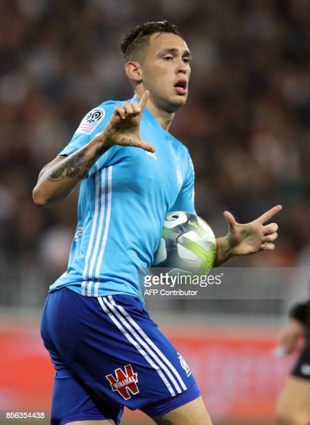Olympique de Marseille's Argentinian forward Lucas Ocampos celebrates after scoring a goal during the French L1 football match Nice vs Marseille on...