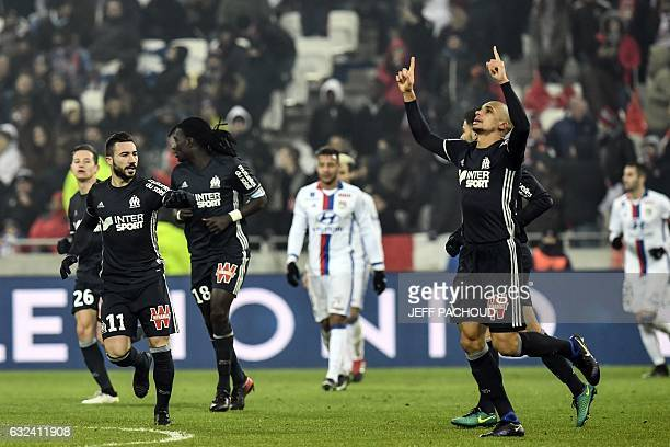 Olympique de Marseille's Brazilian defender Matheus Doria Macedo celebrates after scoring a goal during the French L1 football match Olympique...