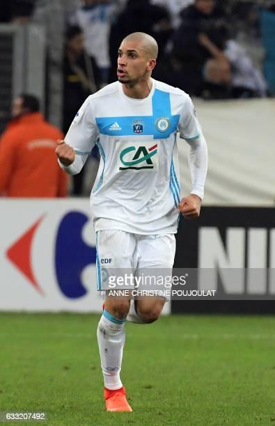 Olympique de Marseille's Brazilian defender Matheus Doria Macedo celebrates after scoring a goal during the French Cup football match between...