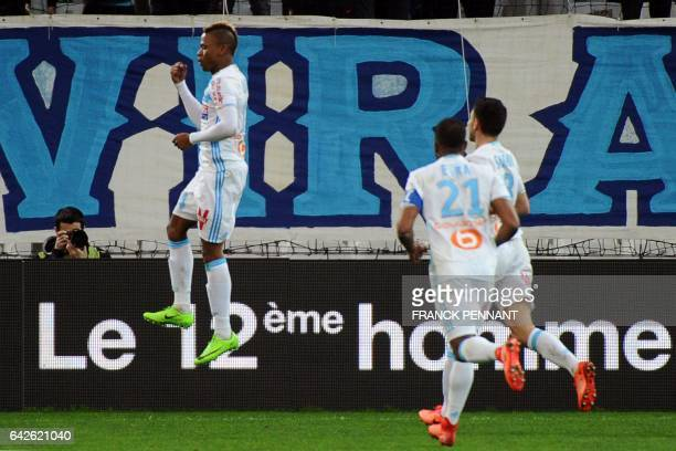 Olympique de Marseille's Cameroonian forward Clinton Njie celebrates after scoring during the French L1 football match between Marseille and Rennes...