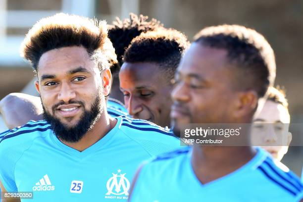 Olympique de Marseille's French defender Jordan Amavi practices following his presentation to the press during a training session on August 10 2017...