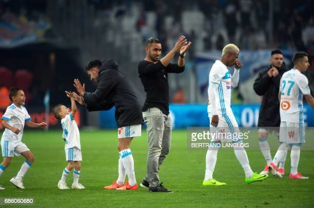 Olympique de Marseille's French forward Dimitri Payet acknowledges the audience following the French L1 football match between Marseille and Bastia...