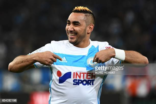 Olympique de Marseille's French forward Dimitri Payet celebrates after scoring the second goal during the French Ligue 1 football match between...