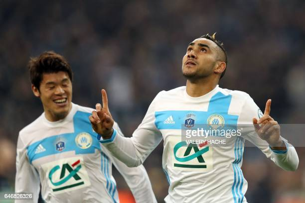 Olympique de Marseille's French forward Dimitri Payet celebrates after scoring during the French Cup football match between Marseille and Monaco on...