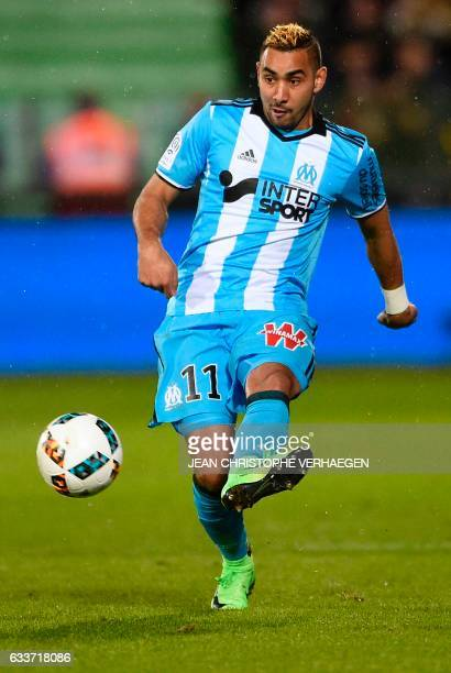 Olympique de Marseille's French forward Dimitri Payet controls the ball during the French Ligue 1 football match between Metz and Marseille on...