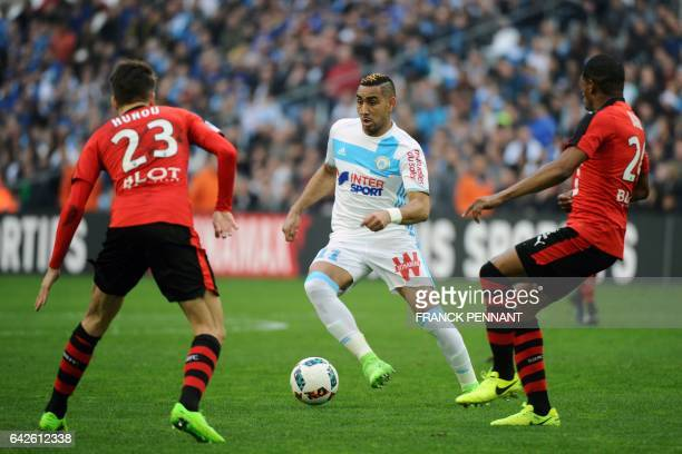 Olympique de Marseille's French forward Dimitri Payet controls the ball during the French L1 football match between Marseille and Rennes on February...